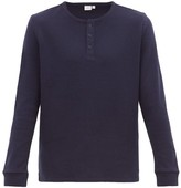 Onia - Miles Cotton Blend Waffle Henley Top - Mens - Navy