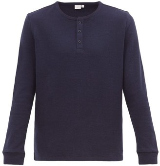 Onia Miles Cotton-blend Waffle Henley Top - Mens - Navy