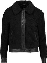Line James faux leather-trimmed bouclé jacket