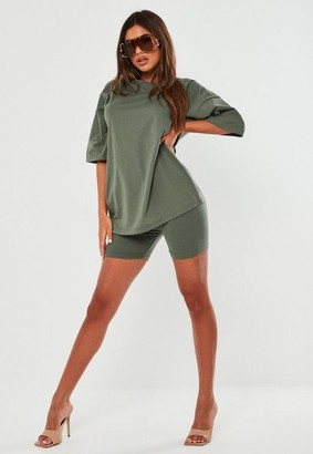 Missguided Green Oversized T Shirt And Biker Shorts Co Ord Set