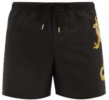 Versace Dragon-print Swim Shorts - Mens - Black Multi