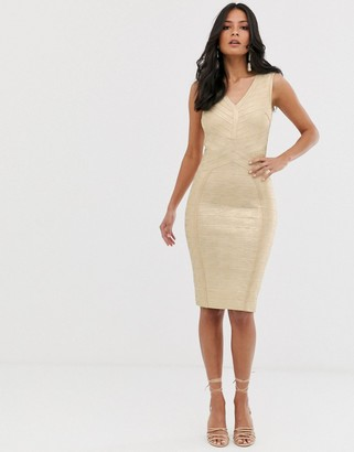 Lipsy plunge front bandage midi dress in gold
