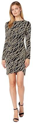 MICHAEL Michael Kors Bias Link Wrap Skirt Dress (Black/Gold) Women's Dress
