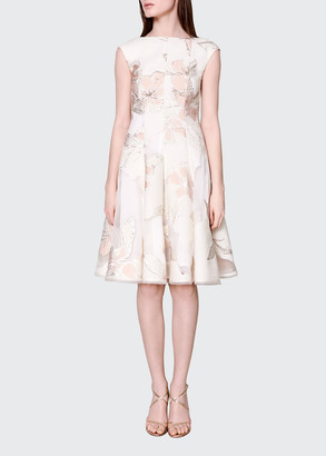 Talbot Runhof Korbut Floral Jacquard Cocktail Dress