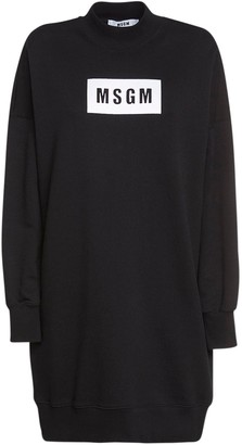 MSGM Logo Print Cotton Jersey Sweat Dress