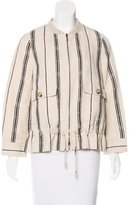Tory Burch Silk Linen Bomber Jacket