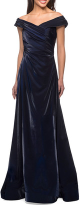La Femme V-Neck Metallic Satin Ruched Gown