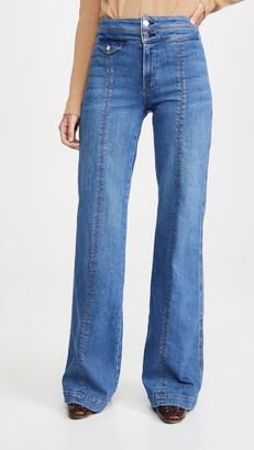 Veronica Beard Jeans Ember Wide Leg Jeans With Seam Detail