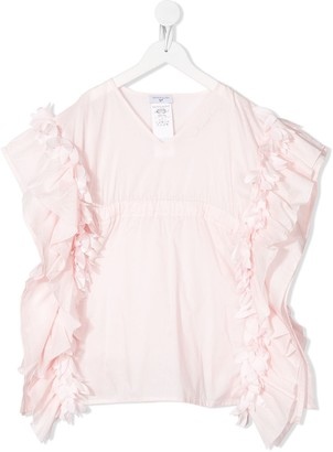 MonnaLisa Ruffle-Trim V-Neck Dress