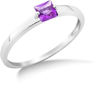 Miore 9ct White Gold Amethyst Engagement Ring MG9085R- Size N