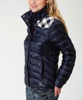 Roper Women's Overcoats BLUE - Blue Buffalo Check-Accent Puffer Coat - Women
