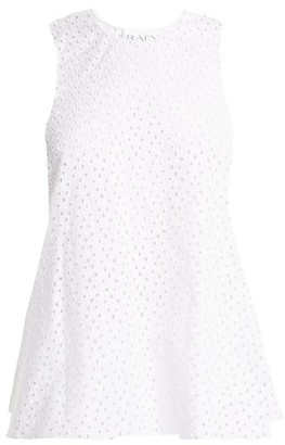 Raey Broderie-anglaise Fishtail Top - Womens - White
