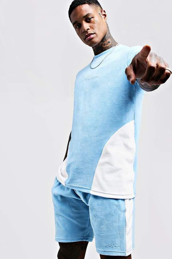 boohoo MAN Embroidered Colour Block Velour Short Set