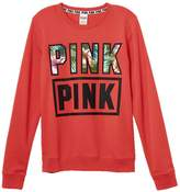 Victoria's Secret PINK Perfect Fleece Crew Sweatshirt Tropical Sz