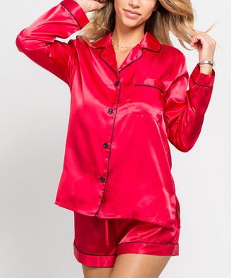 Just Sexy Women's Sleep Bottoms Red - Red Button-Up Pajama Set - Women & Plus