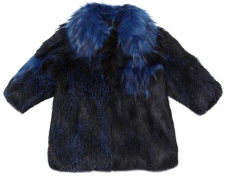Bandits Girl Stars Patchwork Faux Fur Coat