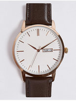 M&S Collection Slim Day Date Watch