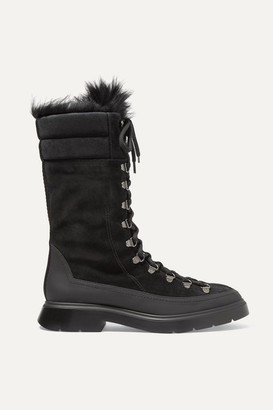 Stuart Weitzman Jessie Shearling And Rubber-trimmed Suede Boots - Black