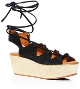 See by Chloe Liana Cork Wedge Lace Up Sandals
