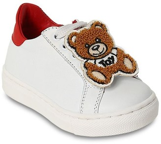 Moschino Leather Lace-up Sneakers W/ Teddy Bear