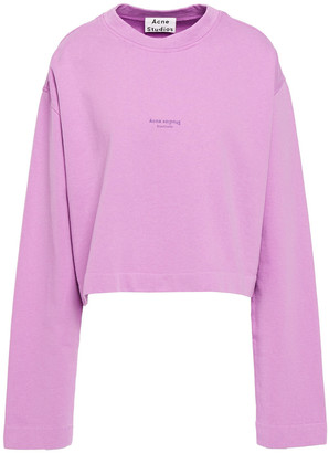 Acne Studios Odice Cropped Printed French Cotton-terry Sweatshirt