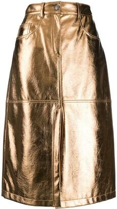 MSGM Metallic Knee-Length Skirt