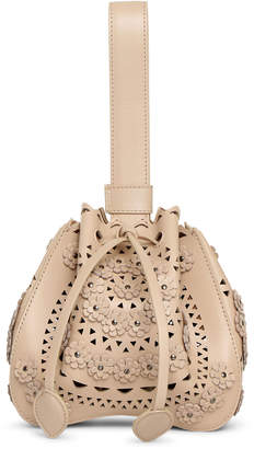 Alaia Rose-Marie Mini beige bijoux bucket bag