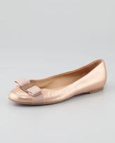 Salvatore Ferragamo Varina Metallic Nubuck Ballet Flat, Rose Gold