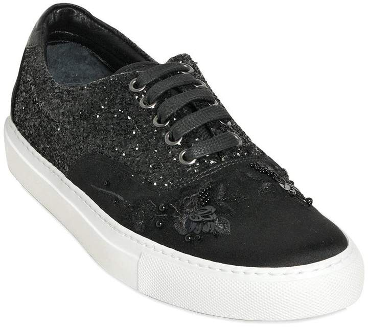 Mother of Pearl Embellished Techno Satin Sneakers