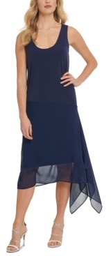 DKNY Mixed-Media Midi Dress