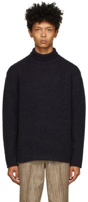 AURALEE Black and Purple Knit Wool Turtleneck