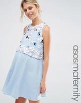 Asos Dress With 3D Floral Embellished Crop Top