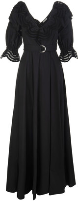 P.A.R.O.S.H. Black Cojour V-neck Woman Long Dress