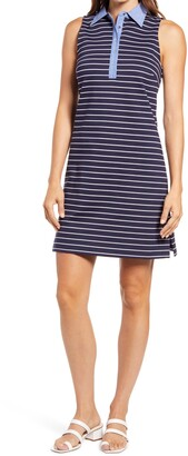 Eliza J Stripe Sleeveless Ponte Dress