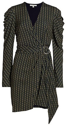 Jonathan Simkhai Chain Jacquard Belted Puff-Sleeve Wrap Dress