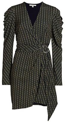 Jonathan Simkhai Chain Jacquard Belted Puff-Sleeve Wrap Dress