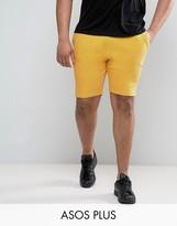 Asos Plus Jersey Shorts In Yellow