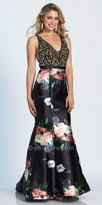Dave and Johnny Iridescent Rhinestone Embellished Floral Print Mermaid Prom Gown