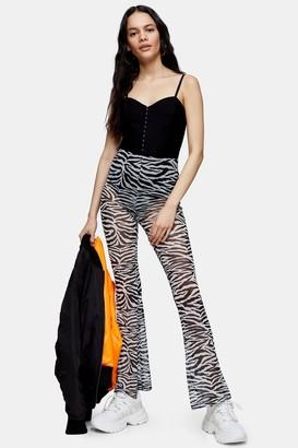 Topshop Black and White Zebra Mesh Flare Pants