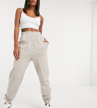 Reclaimed Vintage inspired oversized sweatpants with button popper detail in mocha co-ord