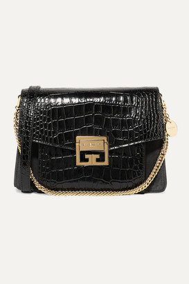 Givenchy Gv3 Small Croc-effect Leather And Suede Shoulder Bag - Black