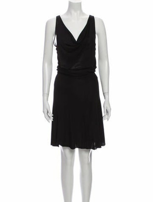 Valentino Cowl Neck Midi Length Dress Black