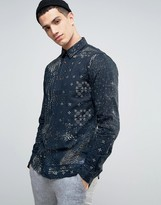 Solid Shirt In Mixed Print And Regular Fit