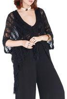 California Moonrise High Priestess Tape Yarn Crochet Knit Fringed Sweater Top