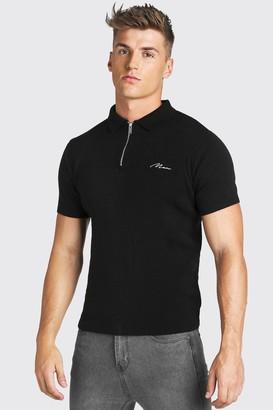 boohoo Mens Black MAN Muscle Fit Half Zip Knitted Short Sleeve Polo, Black