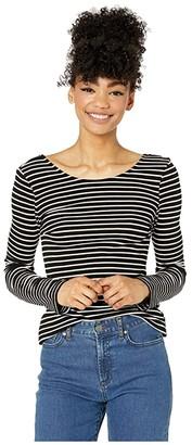 Volcom Dayze Dayz Long Sleeve Shirt (Black/White) Women's Clothing