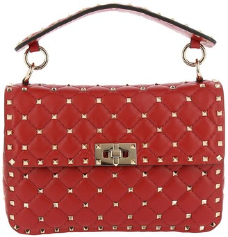 Valentino Rockstud Spike Medium Bag In Genuine Leather With Micro Studs And Sliding Shoulder Strap