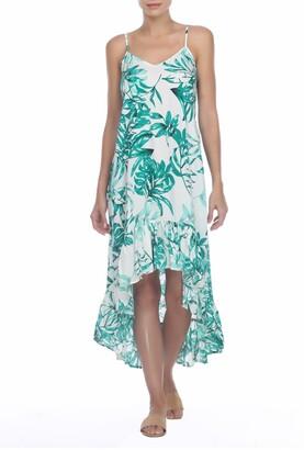 BOHO ME Leaf Printed Hi-Lo Flounce Hem Dress