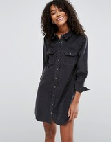 Asos Cord Charcoal Western Shirt Dress in Gray