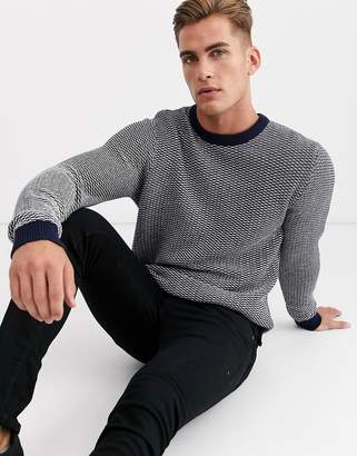 Selected crew neck textured knitted jumper in navy